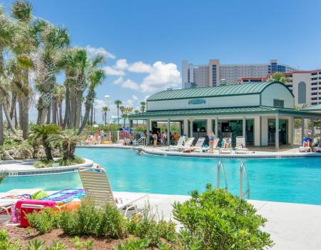 Pool and concessions at Long Beach Resort