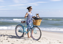Woman on beach with bicycle and dog in basket
